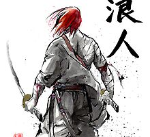 Ronin Holding Swords Sumie and calligraphy by Mycks