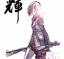 Lightening from Final Fantasy Sumie style with Japanese Calligraphy by Mycks