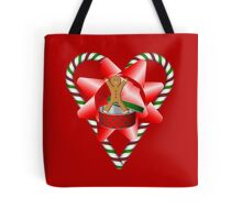 Candy Cane Heart Gingerbread Man Holiday  Tote Bag