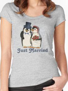 Penguin Wedding - Just Married Women's Fitted Scoop T-Shirt