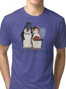 Penguin Wedding - Just Married Tri-blend T-Shirt