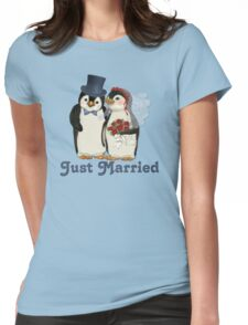 Penguin Wedding - Just Married Womens Fitted T-Shirt