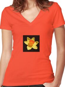 Spring Daffodil Isolated On Black Women's Fitted V-Neck T-Shirt
