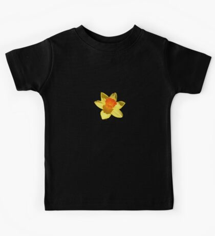 Spring Daffodil Isolated On Black Kids Tee