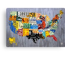 USA License Plate Map of the United States - Muscle Car Era - On Silver Canvas Print
