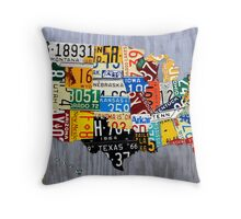USA License Plate Map of the United States - Muscle Car Era - On Silver Throw Pillow