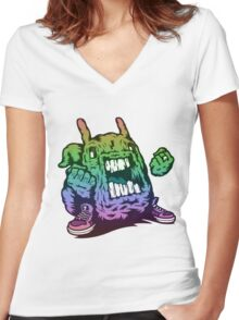Rainbow Monster Illustration. Women's Fitted V-Neck T-Shirt