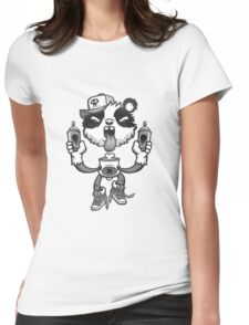 Black and White Graffiti Panda. Womens Fitted T-Shirt