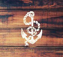 Vintage Nautical Anchor White on Brown Wood Grain by RailtonRoad