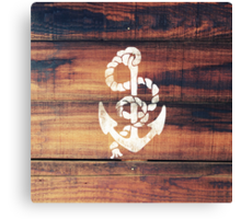 Vintage Nautical Anchor White on Brown Wood Grain Canvas Print