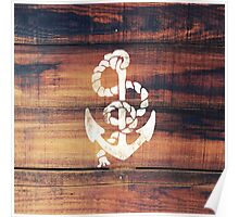 Vintage Nautical Anchor White on Brown Wood Grain Poster
