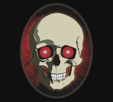 Skull Oval Background Red by Piero