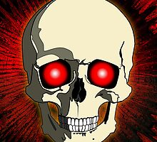 Skull with Red Background by Piero