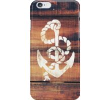 Vintage Nautical Anchor White on Brown Wood Grain iPhone Case/Skin