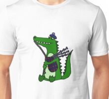 Funny Cool Alligator Playing Bagpipes Unisex T-Shirt