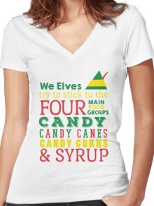 Candy, Candy Canes, Candy Corn, & Syrup Women's Fitted V-Neck T-Shirt