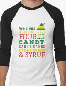 Candy, Candy Canes, Candy Corn, & Syrup Men's Baseball ¾ T-Shirt