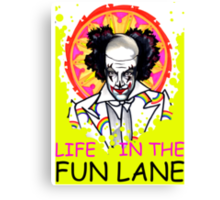 binky the clown lives in the FUN LANE Canvas Print