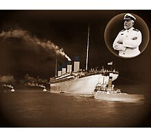 ☝ ☞ EJ SMITH CAPTAIN OF THE TITANIC-Titanic leaving Belfast with two guiding tugs ☝ ☞ Photographic Print