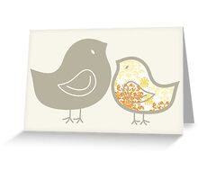 Sweet Yellow Damask Chicks T-shirt Greeting Card