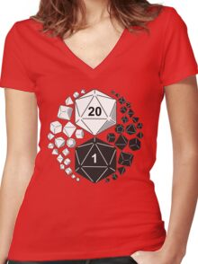 Gaming Yin Yang Women's Fitted V-Neck T-Shirt