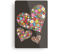 Spring Flowers Valentine Hearts Trio Metal Print