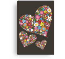 Spring Flowers Valentine Hearts Trio Canvas Print
