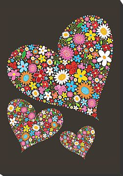 Spring Flowers Valentine Hearts Trio by fatfatin
