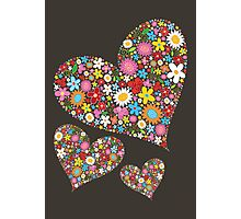 Spring Flowers Valentine Hearts Trio Photographic Print