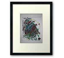 Imaginary female head/breasts -(100413)- Canvas/Watercolour paints Framed Print