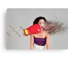 Mechanical boxing devices punches a young woman in the face Canvas Print