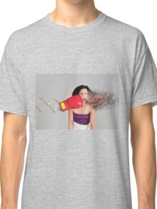 Mechanical boxing devices punches a young woman in the face Classic T-Shirt