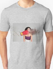 Mechanical boxing devices punches a young woman in the face T-Shirt