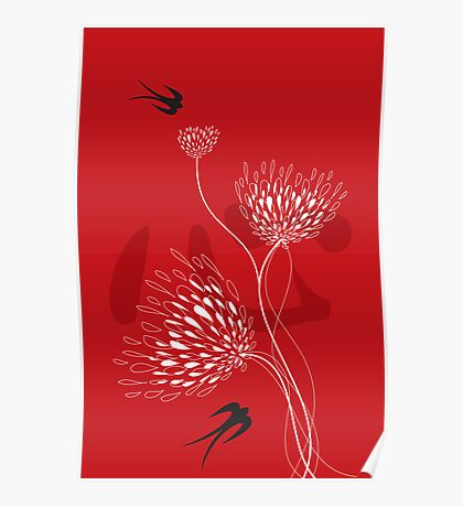 Black Swallows With Red Chinese Heart and White Blooms Poster