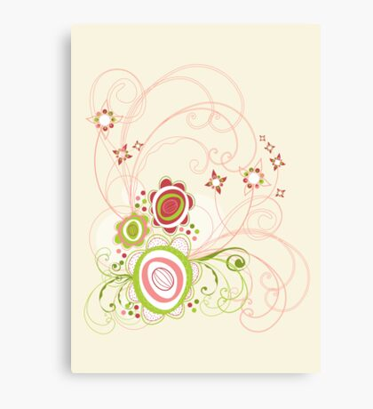 Sweet Groovy Pink Wild Blooms Canvas Print