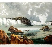 Niagra Falls from an aquatint by Karl Bodmer early 19th century by Dennis Melling