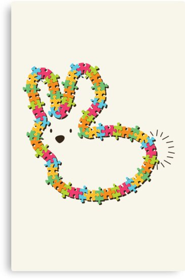Colorful Jigsaw Whimsical Baby Bunny by fatfatin