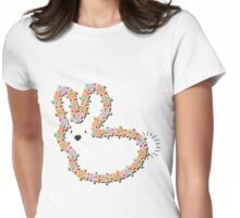 Pastels Jigsaw Whimsical Baby Bunny Womens Fitted T-Shirt