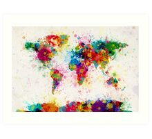 World Map Paint Splashes Art Print