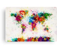 World Map Paint Splashes Canvas Print
