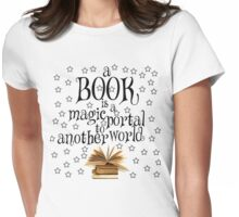 Book is a magic portal (with stars) Womens Fitted T-Shirt