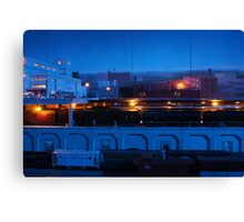 Blue Night At The Train Station Canvas Print