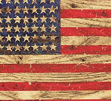 Vintage Patriotic American Flag on Old Wood Grain by RailtonRoad