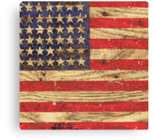 Vintage Patriotic American Flag on Old Wood Grain Canvas Print