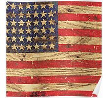 Vintage Patriotic American Flag on Old Wood Grain Poster