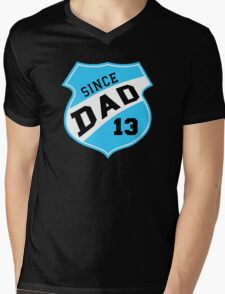 DAD SINCE 2013 Sports Design Sky Mens V-Neck T-Shirt