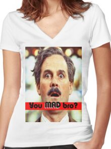 Cleese - YOU MAD BRO Women's Fitted V-Neck T-Shirt
