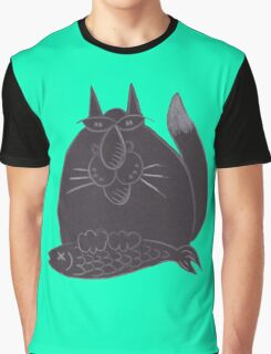 Black cat(ch) Graphic T-Shirt
