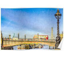 London Bus and London Eye Watercolour Poster