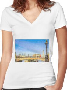 London Bus and London Eye Watercolour Women's Fitted V-Neck T-Shirt